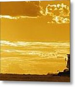 Field With Combine At Sunset Metal Print