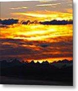 Fiery Sunrise Over The Cascade Mountains Metal Print