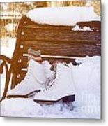 Figure Skates On The Bench Metal Print