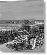 Fiishing Nets At Mudeford Quay Metal Print