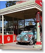 Filling Up The Old Ford Jalopy At The Associated Gasoline Station . Nostalgia . 7d12880 Metal Print