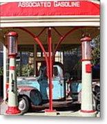 Filling Up The Old Ford Jalopy At The Associated Gasoline Station . Nostalgia . 7d12883 Metal Print