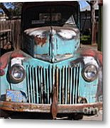 Filling Up The Old Ford Jalopy At The Associated Gasoline Station . Nostalgia . 7d12885 Metal Print
