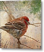 Finch Greeting Card With Verse Metal Print