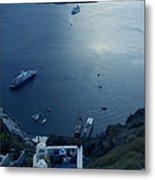 Fira Town View Santorini Metal Print