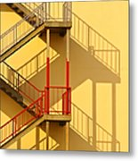 Fire Escape And Shadow Metal Print by David Buffington