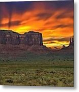 Fire In The Sky Over The Valley Metal Print
