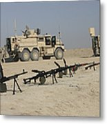Firearms Sit Ready On A Firing Range Metal Print