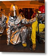 Firemen Brace For Shock Metal Print by Stocktrek Images