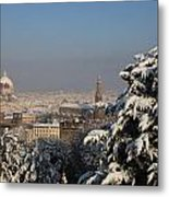 Firenze Under The Snow Metal Print