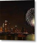 Fireworks Against Chicago Skyline Metal Print
