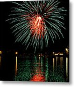 Fireworks Of Green And Red Metal Print