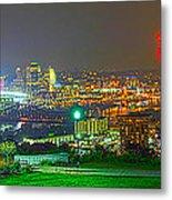 Fireworks Over The City Skyline Metal Print