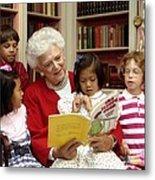 First Lady Barbara Bush Reads Metal Print