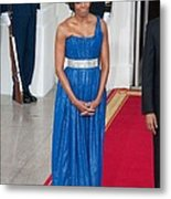 First Lady Michelle Obama Wearing Metal Print