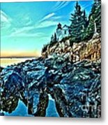 First Light At Bass Harbor Metal Print