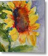 First Sunflower Metal Print by Terri Maddin-Miller