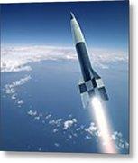 First V-2 Rocket Launch, Artwork Metal Print