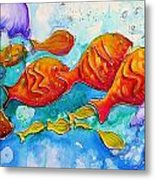Fish Abstract Painting Metal Print