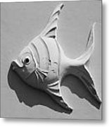 Fish And Shadow Face In Black And White Metal Print