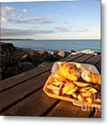 Fish 'n' Chips By The Beach Metal Print by Rob Hawkins