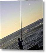 Fisherman Along The Corniche Metal Print