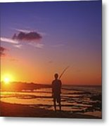 Fisherman At Sunset Metal Print