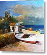 Fisherman's Cottage Metal Print by George Siaba