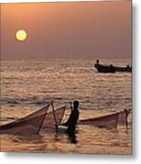 Fishermen Holding Nets In Sea At Sunset Metal Print