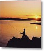 Fishing At Sunset, Roaring Water Bay Metal Print