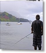 Fishing At The End Of The Pier Metal Print