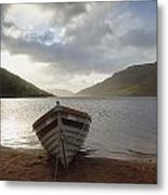 Fishing Boat Moored On Lough Nafooey Metal Print