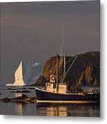 Fishing Boat Near An Iceberg, Durrell Metal Print