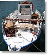 Fishing Boat With Octopus Drying Metal Print by Jane Rix