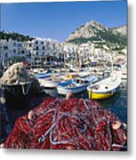 Fishing Boats And Nets In The Marina Metal Print
