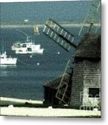 Fishing Boats And Windmill In Chatham On Cape Cod Massachusetts Metal Print