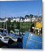 Fishing Boats At A Harbor, Roundstone Metal Print