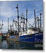 Fishing Boats At Dock Metal Print