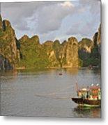 Fishing Boats At Sunset, Halong Bay Metal Print