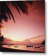 Fishing Boats At Sunset On Mae-haad Metal Print