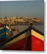 Fishing Boats In Front Of Kasbah Des Metal Print by Axiom Photographic