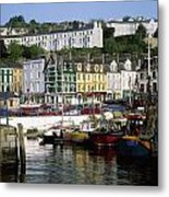 Fishing Boats Moored At A Harbor, Cobh Metal Print