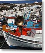 Fishing Boats Mykonos Metal Print