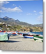 Fishing Boats On A Beach In Spain Metal Print