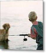 Fishing Boy Metal Print