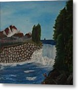 Fishing By The Falls Metal Print