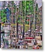 Fishing Docks Hdr Metal Print