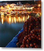 Fishing Harbour At Dusk Metal Print
