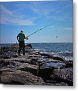 Fishing Off Of The Jetty Metal Print