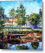 Fishing On The Canal Metal Print